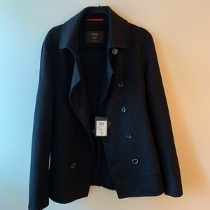 NWT MCM 100% Cashmere Pea Coat, navy blue, winter